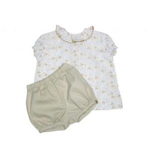 Ranita beige y blusa de flores para bebé Marca Ancar