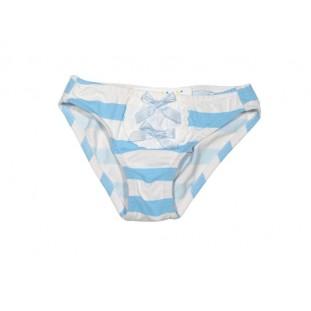 Culetín de raya blanca y azul con lacitos para bebé