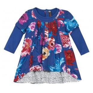 Vestido azulón doble de flores de niña Marca Catimini