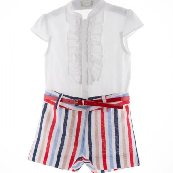 Short de rayas y blusa blanca de Marta y Paula de niña