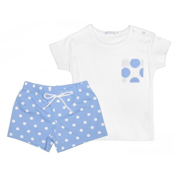 Bañador y camiseta de niño azul y blanco Marca Munny