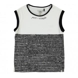 Camiseta combinada blanca y negra para niña Marca IKKS