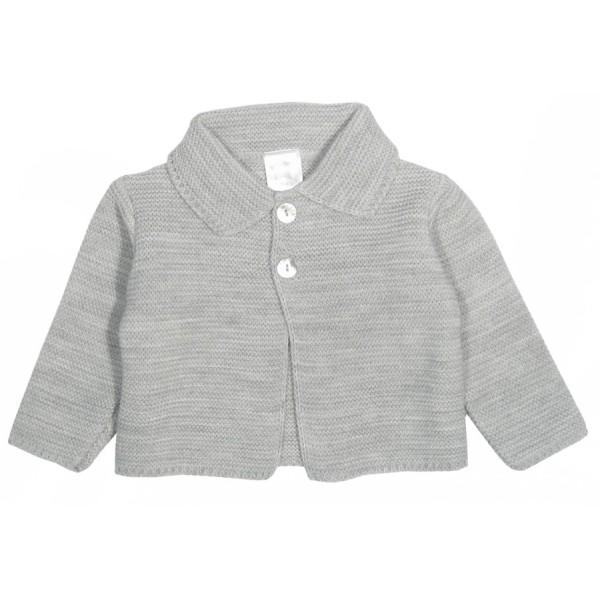 Chaqueta gris con cuello para bebé Marca Minhon