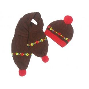 Gorro y bufanda marrón con rojo para bebé Marca Tuc Tuc