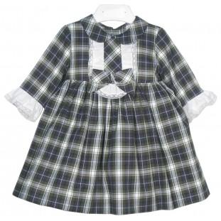 Vestido de bebé escocés con volante blanco Marca Sprint