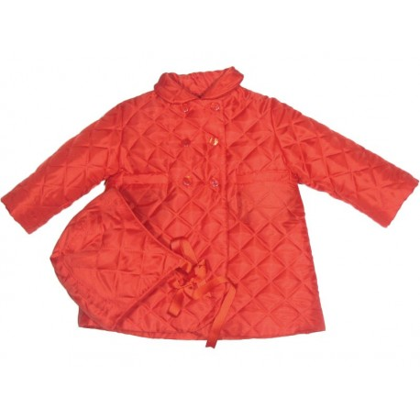 Abrigo pespuntes rojo