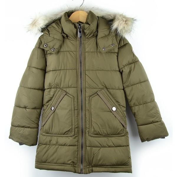 Abrigo verde kaki con capucha para niña Marca Reset