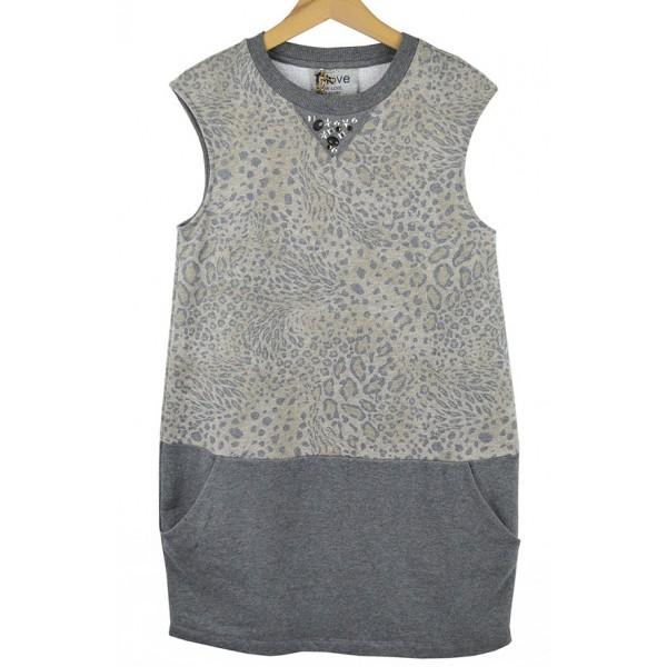 Vestido de algodón gris de manchas para teens de T-Love