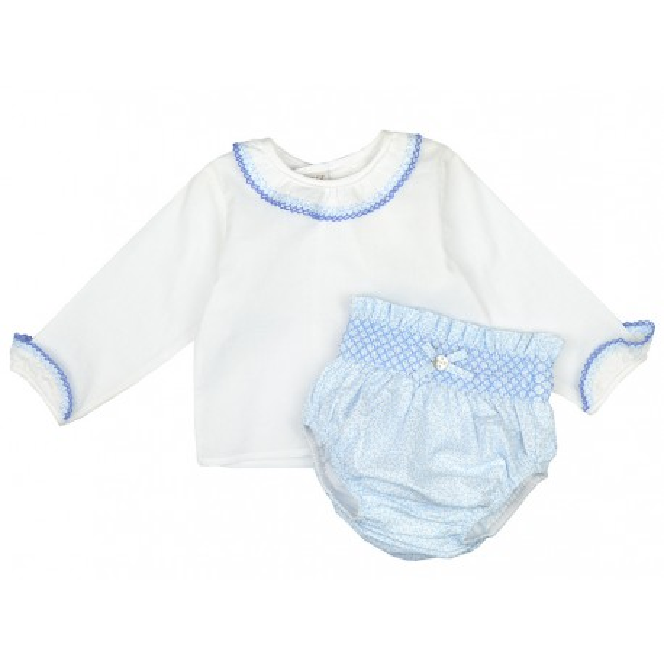 Blusa blanca con braguita azul bordada de Paz Rodríguez