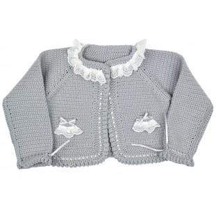 Chaqueta gris hecha a mano para bebé de lana merina