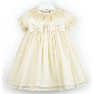 Vestido para bebé beige en seda y tul Marca Sprint