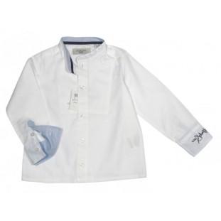 Camisa blanca y azul de cuello mao para niño de Schuss