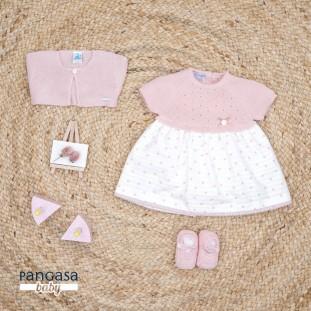 Vestido topos punto y tela rosa Pangasa