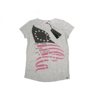 Camiseta de algodón gris y rosa para Junior Marca IKKS