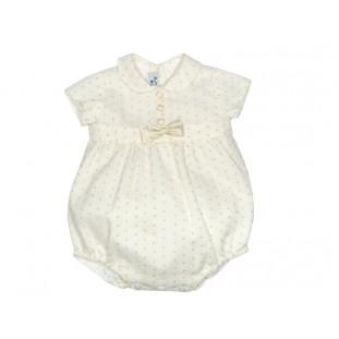 Pololo beige de plumeti con cuello bebé y lazo de seda