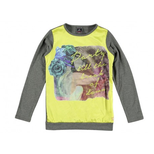 Camiseta gris y amarilla para niña Marca Retour