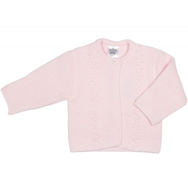 Chaqueta larga rosa labrada para bebé Marca Minhon