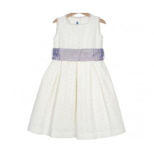 Vestido de lino bordado con lila de niña Marca Sprint