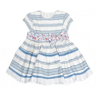 Vestido de rayas blanco y azul de niña de Marta y Paula