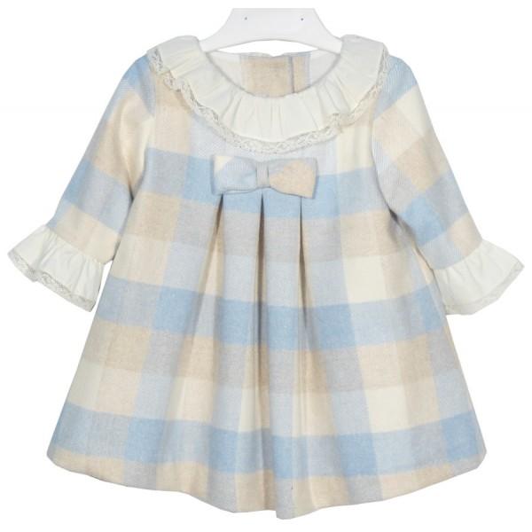 Vestido de cuadros celeste y beige de bebé Marca Sprint
