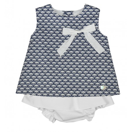 Conjunto azul y blanco estampado Marca Eve Children