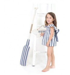 Vestido de raya ancha blanco y azul de Eve Children