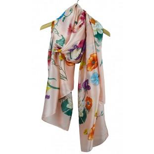 Pañuelo estampado de flores con fondo rosa de fino raso