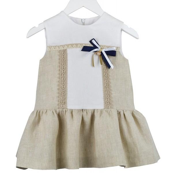 Vestido de lino beige para bebé Marca Marta y Paula