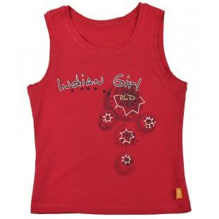 Camiseta roja con bordado y print negro para niña