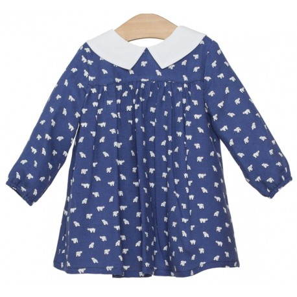 Vestido para bebé azul con ositos marca Fina Ejerique