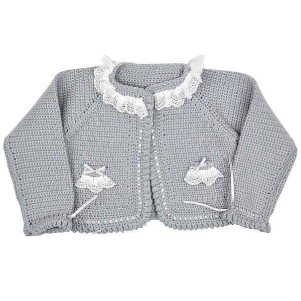 683b4ac0f Chaqueta gris hecha a mano para bebé de lana merina