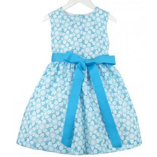 Vestido blanco y turquesa bordado y perforado para niña