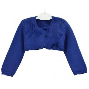 Chaqueta azulona corta con lazo de terciopelo para niña