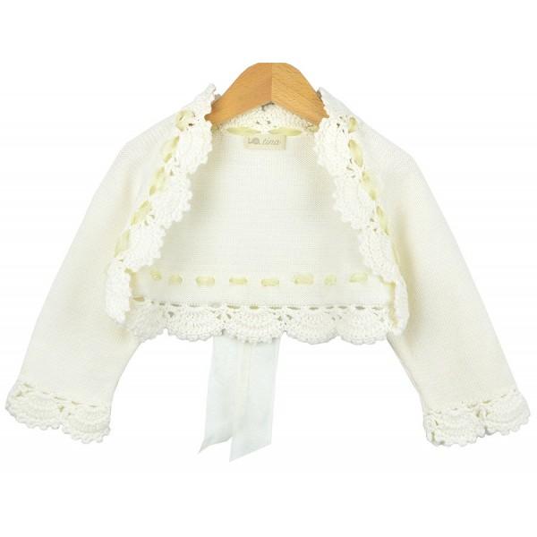 Bolero marfil de algodón de Artesanía Tina para niña