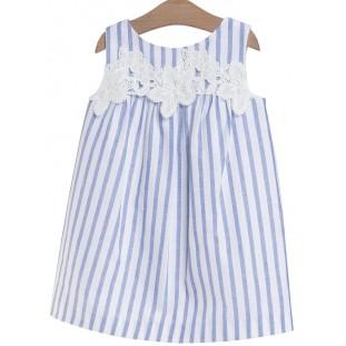 Vestido para niña de rayas con guipur de Fina Ejerique