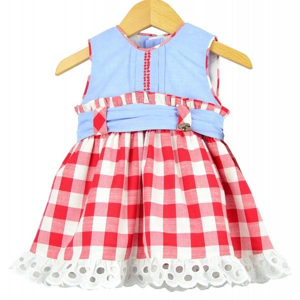 Vestido de cuadros rojos para bebé de Marta y Paula