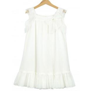 Vestido de plumeti de tul blanco roto para ceremonia