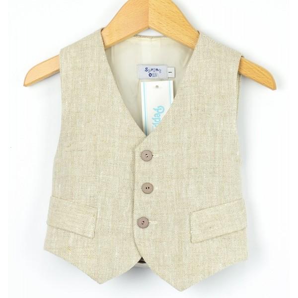 Chaleco clásico de lino beige para niño marca Sprint