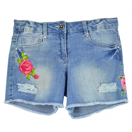 Short vaquero con flores bordadas de Elsy para junior