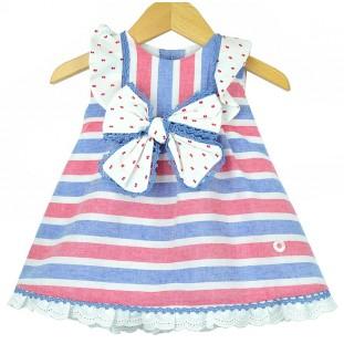 Vestido de rayas y plumeti para bebé de Marta y Paula