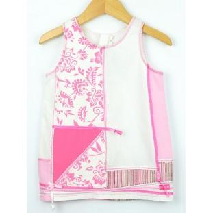 Vestido recto en blanco roto y rosa para bebé