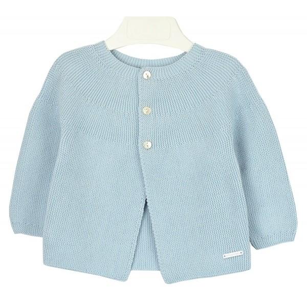 Chaqueta larga para bebé en azul empolvado de Pangasa