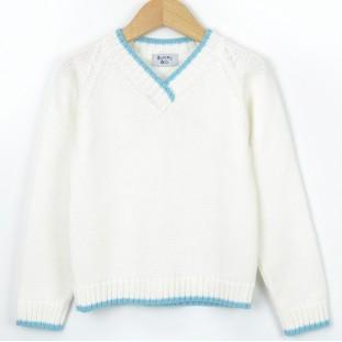 Jersey blanco de pico con azul para niño marca Sprint