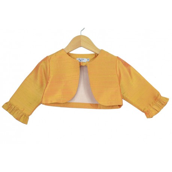 Bolero de seda tornasolada de color oro para ceremonia
