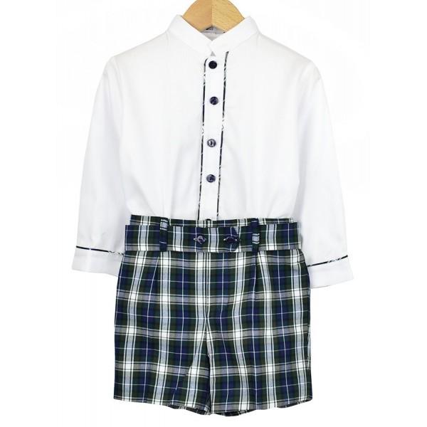 Conjunto escocés para niño con camisa blanca y bermuda