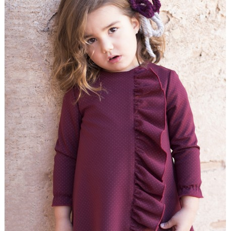 Vestido granate con topitos y volante de Eve Children