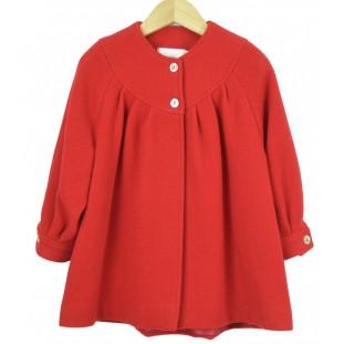Abrigo rojo de paño con vuelo para niña
