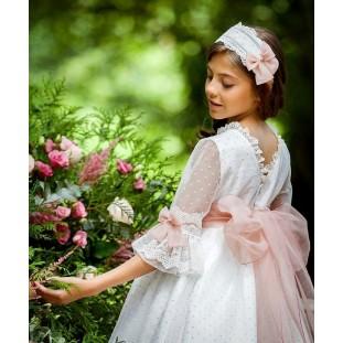 Vestido de Artesanía de la Torre en plumeti blanco con rosa
