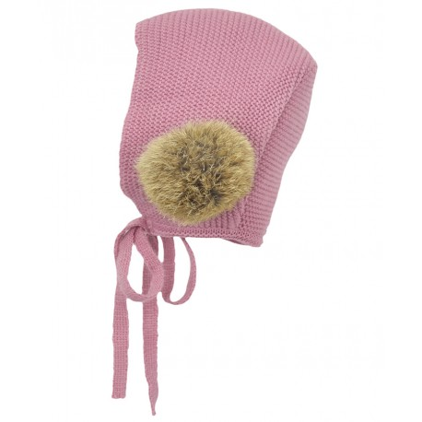 Capota rosa palo con pompón de pelo de Paloma de la O