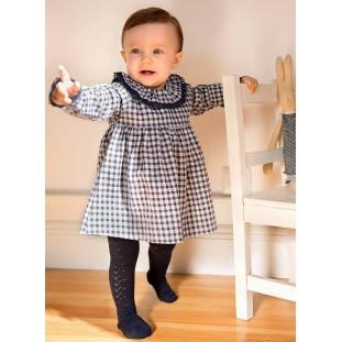 Vestido clásico de cuadro vichy para bebita de Minhon